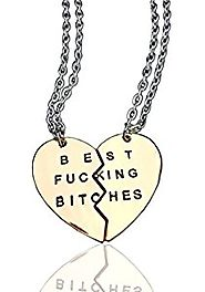 Expression Jewelry Best Fucking Bitches Two-Piece BFF Heart Pendant Necklace