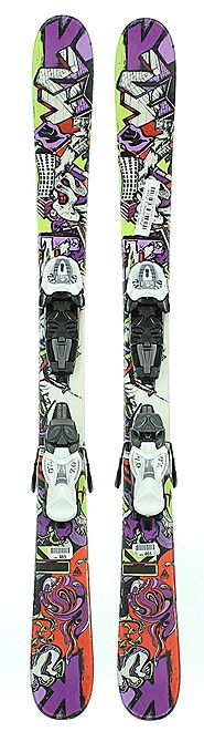 Used 2011 K2 Juvy Freestyle Twin Tip Kids Snow Skis with Marker 7.0 Binding C
