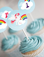 Unicorn Cupcake Toppers - Set of 12 - Instantly Downloadable and Editable File - Personalize at home with Adobe Reader