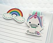 Unicorn and Rainbow Magnetic Bookmarks, Set of 2 Colorful Kawaii Paper Clips for Planners or Cookbooks, Page Markers ...