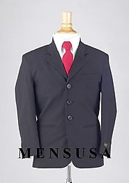 Boys Navy Blue Slim Fit Suit