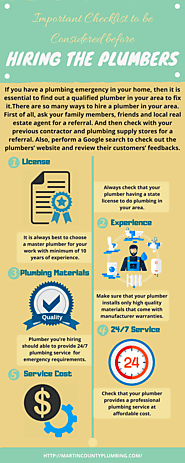 Important Checklist to be Considered before Hiring the Plumbers