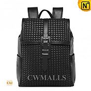 CWMALLS® Leather Flap Backpack Woven CW936025