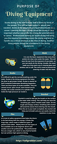 Diving Equipment and their Purpose