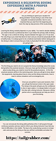Experience a delightful diving experience with a proper planning