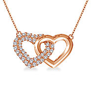 Intertwined Gold & Diamond Heart Pendant in 14K Rose Gold
