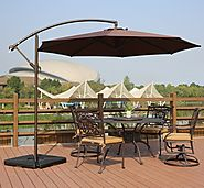 Deluxe Adjustable Offset Cantilever Hanging 10' Patio Umbrella with Cross Base and Crank