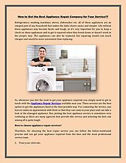Tips for hiring an appliance repair service