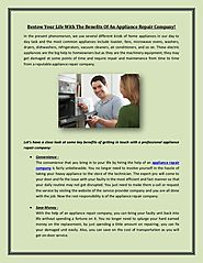 Benefits of hiring an appliance repair company