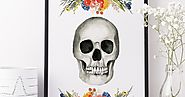 Free Watercolor Floral Skull Printable