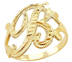 "14k Yellow Gold Initial Letter Ring ""B"""