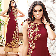 Nice Maroon Front Cut Georgette Latest Fashion Dress Design