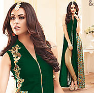 Smashing Green Sleeveless Aline Style Georgette Designer Dress