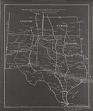 Map showing Cattle Trails from 1866 to 1895