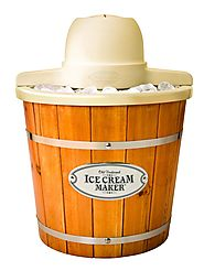Nostalgia ICMP400WD Vintage Collection 4-Quart Wood Bucket Electric Ice Cream Maker