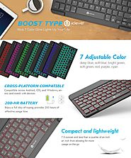 iClever Universal Backlight 7-Color Adjustable Brightness Portable Wireless Bluetooth Keyboard