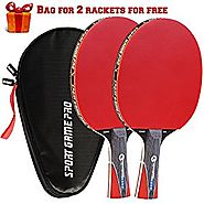 Sport Game Pro Ping Pong Paddles Set Includes Killer Spin, Bag for 2 Table Tennis Rackets with Comfort Grip 2.0 mm Sp...