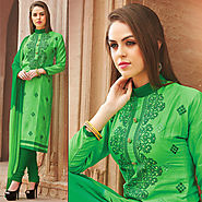 Green Color Cotton Glazz Designer Salwar Kameez