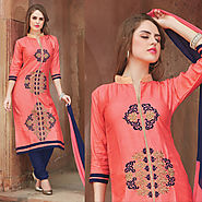 Pink Color Cotton Glazz Designer Salwar Kameez