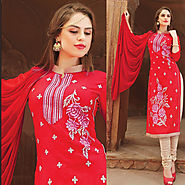 Red Color Cotton Glazz Designer Salwar Kameez