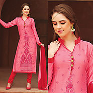 Pink Color Glazz Cotton Designer Salwar Kameez