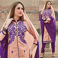 Pink & Purple Color Glazz Cotton Designer Salwar Kameez
