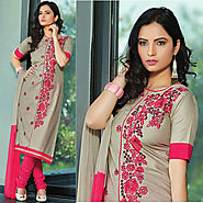 Grey Color Cotton Designer Salwar Kameez