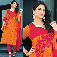 Red Color Cotton Designer Salwar Kameez