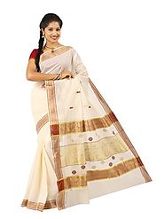 Off White Saree 66055 - 58319-007