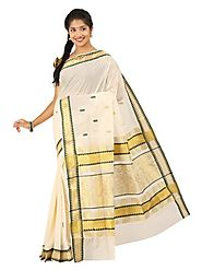 Off White Saree 66525 - 58318-013
