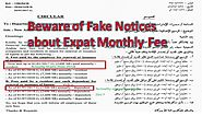Expat monthly fee fake notices saudi arabia
