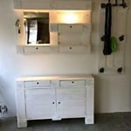 Vintage White Shabby Chic Pallets Hallway Chest / Mirror