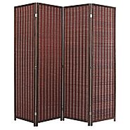 Decorative Freestanding Brown Woven Bamboo 4 Panel Hinged Privacy Screen Portable Folding Room Divider