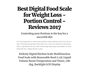 Best Digital Food Scale for Weight Loss - Portion Control - Reviews 2017