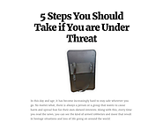 5 Steps You Should Take if You are Under Threat
