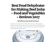 Best Food Dehydrator for Making Beef Jerky - Food and Vegetables - Reviews 2017