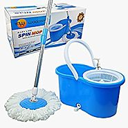 Woodsam Magic Spin Mop - Easy Press Mop Bucket Set - 360° Rotation Push & Pull - Liquid Drain Hole - Easy Wring with ...