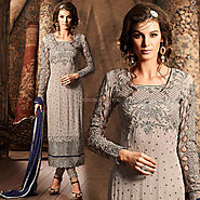 Alluring Grey Aline Georgette New Pakistani Dress