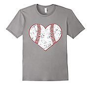 Baseball Heart T Shirt, Gift for Softball or Baseball Mom or Dad, Team - Baseball Gifts for Christmas, Birthdays, Val...