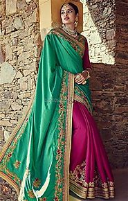 Deddable Green And Pink Embroidered Silk Modern Half Saree