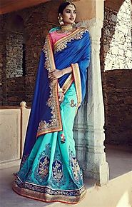 Faciable Blue And Sky Blue Embroidered Silk Half Sari Online