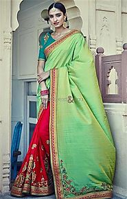 Graceful Green And Red Embroidered Silk Half Saree Online