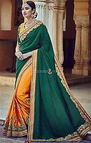 Engaging Green And Yellow Embroidered Silk Half And Half Saree