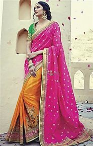 Attractive Pink And Yellow Embroidered Silk Half Sari