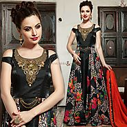 Heavenly Black Embroidered Silk Long Indian Gown Dress