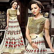 Delightful Cream Embroidered Silk Indian Party Gown