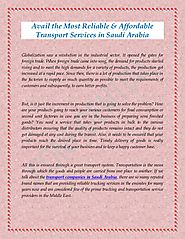 Avail the Most Reliable & Affordable Transport Services in Saudi Arabia