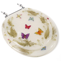 Comfort Seats C1B6R9-BFCH Acrylic Toilet Seat with Chrome Hinges, Round, Butterflies