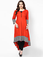 Exclusive Orange Designer Stitched Kurtis Online for 749 Rs.@ FleAffair