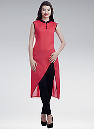 Red Designer Georgette Semi-stitched Kurti Online for 449 Rs.@ FleAffair